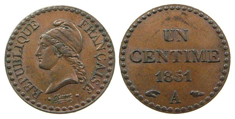 1 Centime 1851 Frankreich Br Mzz: A, Gad.84 vz