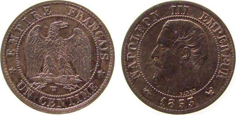1 Centime 1853 Frankreich Br Napoleon III, W (Lille) vz