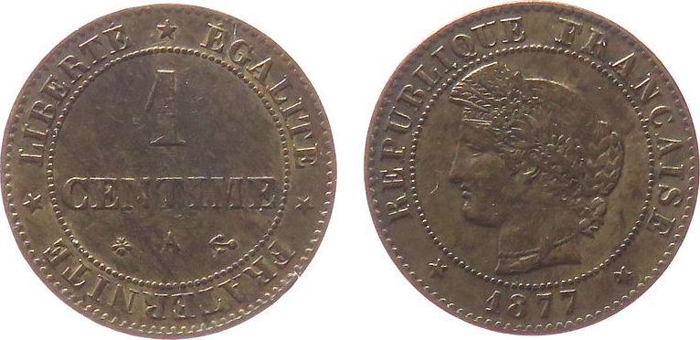 1 Centime 1877 Frankreich Br Ceres, A (Paris) ss