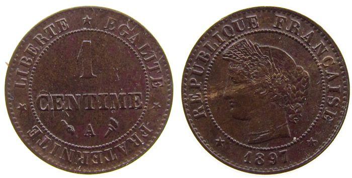 1 Centime 1897 Frankreich Br Ceres, A (Paris) vz