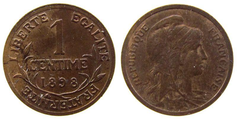 1 Centime 1898 Frankreich Br Daniel-Dupuis vz+