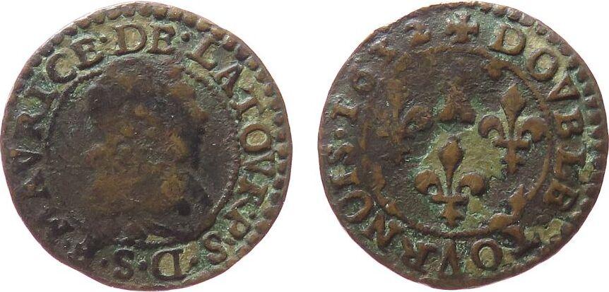 1 Double Tournois 1632 Frankreich Ku Frédéric-Maurice de la Tour d'Auvergne (1623-1642) s-ss