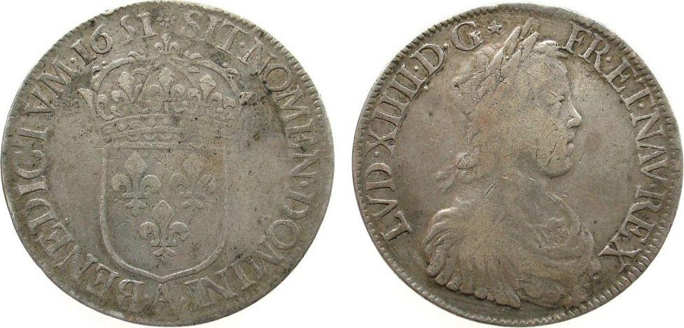 1 Ecu a la meche longue 1651 Frankreich Ag Louis XIV, A (Paris) - 26,69 Gramm s+