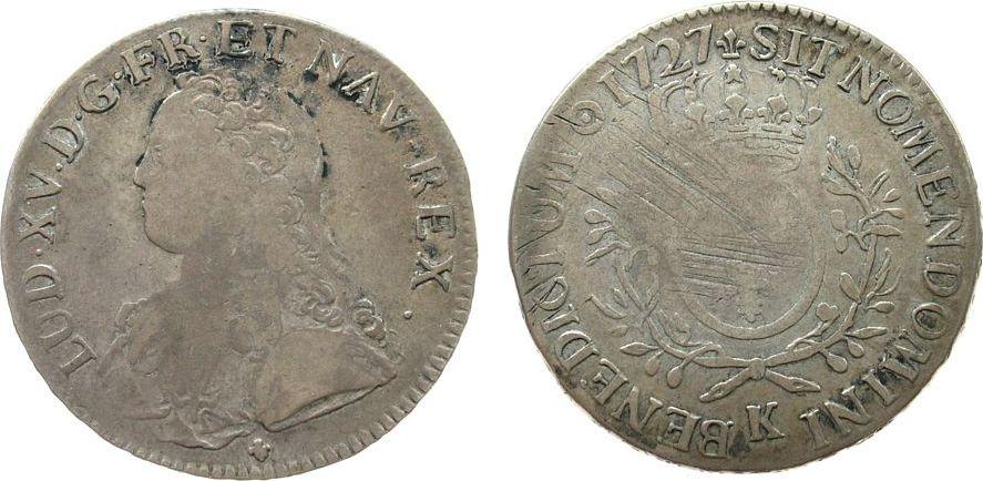 1 Ecu aux branches d olivier 1727 Frankreich Ag Louis XV, K (Bordeaux), ca. 29,09 Gramm, justiert schön