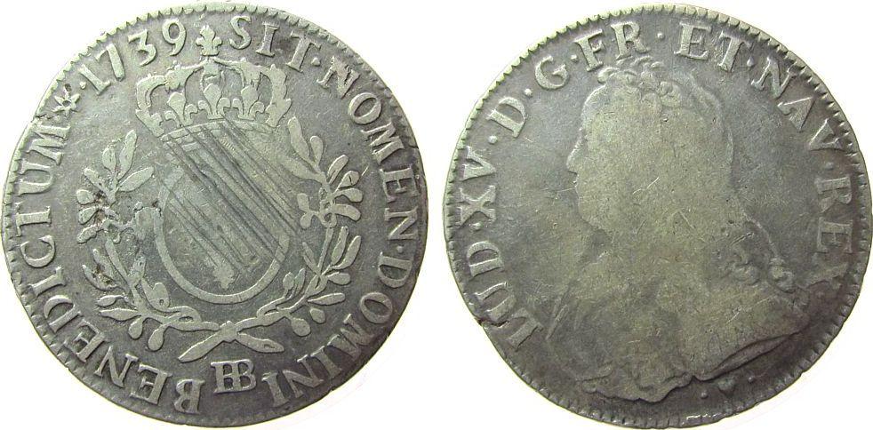 Ecu aux branches d olivier 1739 Frankreich Ag Louis XV, BB (Strasbourg), ca. 28,78 Gramm, justiert fast schön