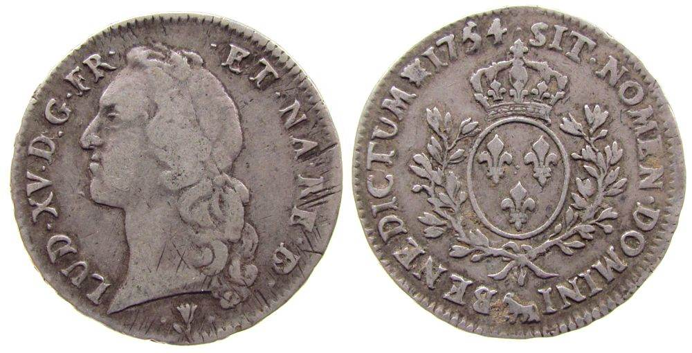 Ecu aux branches du Bearn 1754 Frankreich Ag Louis XV, Pau s / ss