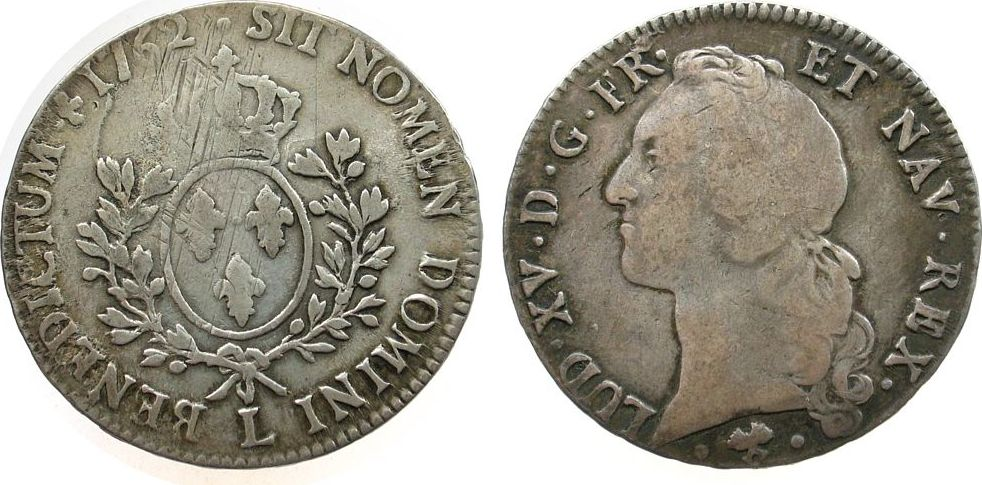 1 Ecu au Bandeau 1762 Frankreich Ag Louis XV, L (Bayonne), justiert s+