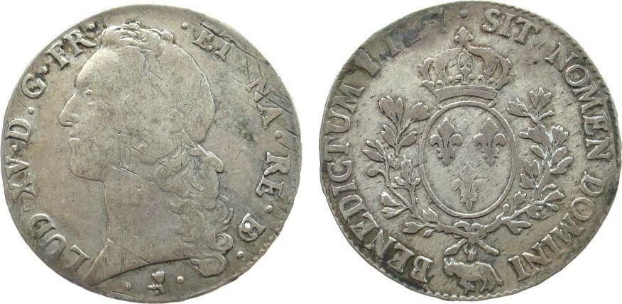 1 Ecu au Bandeau 1767 Frankreich Ag Louis XV, Pau s / ss