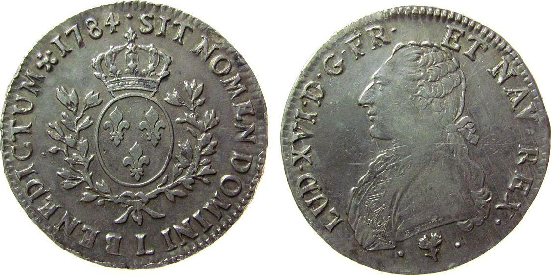 Ecu aux branches d olivier 1784 Frankreich Ag Louis XVI, L (Bayonne), ca. 29,26 Gramm fast vz