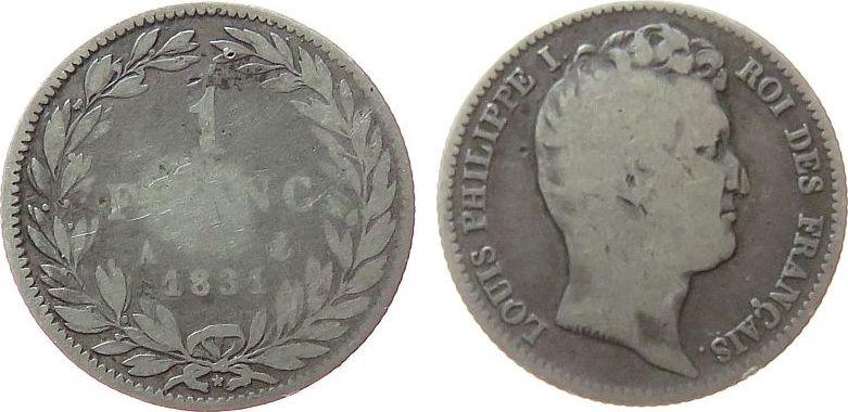 1 Franc 1831 Frankreich Ag Louis Philippe I, A (Paris) fast schön
