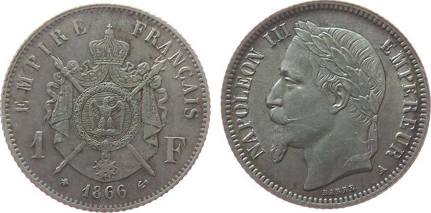 1 Franc 1866 Frankreich Ag Napoleon III, A (Paris) vz