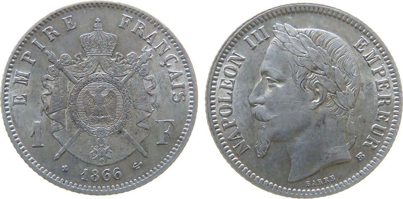1 Franc 1866 Frankreich Ag Napoleon III, BB (Strasbourg), eine feine Prüfspur am Rand vz+