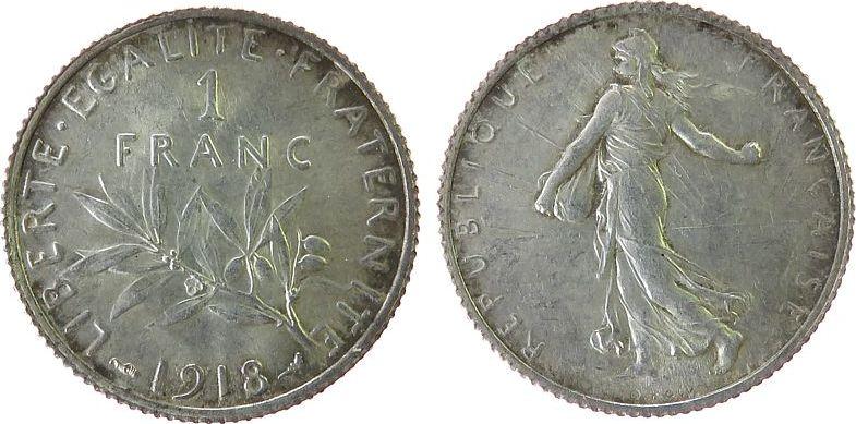 1 Franc 1918 Frankreich Ag Semeuse, Patina unz