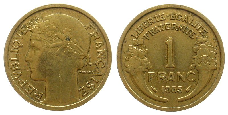 1 Franc 1935 Frankreich AlBr Marianne, Morlon, Gad.470, seltener Jahrgang ss
