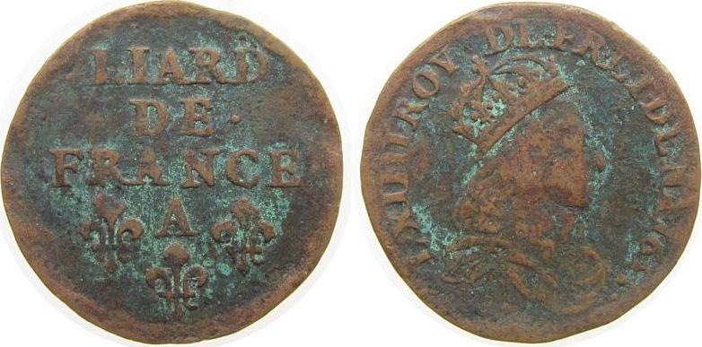 1 Liard 1655 Frankreich Ku Louis XIV, A (Paris) schön