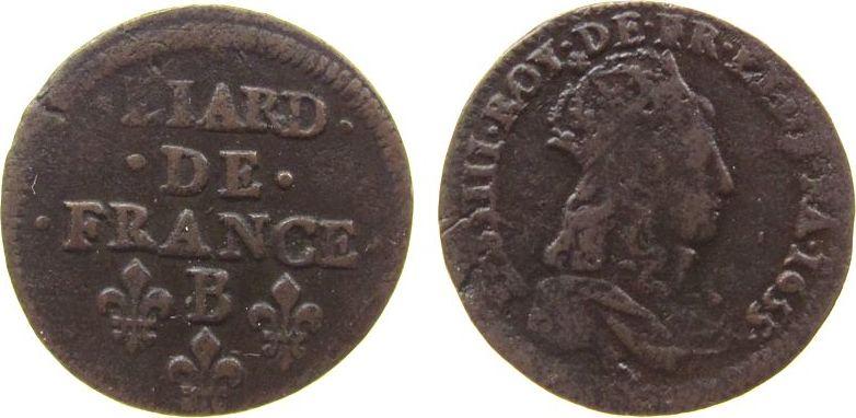 1 Liard 1655 Frankreich Ku Louis XIV, B (Rouen) ss