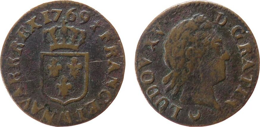1 Liard á la vieille téte 1769 Frankreich Ku Louis XV, AA (Metz), Dupl.1701 ss-