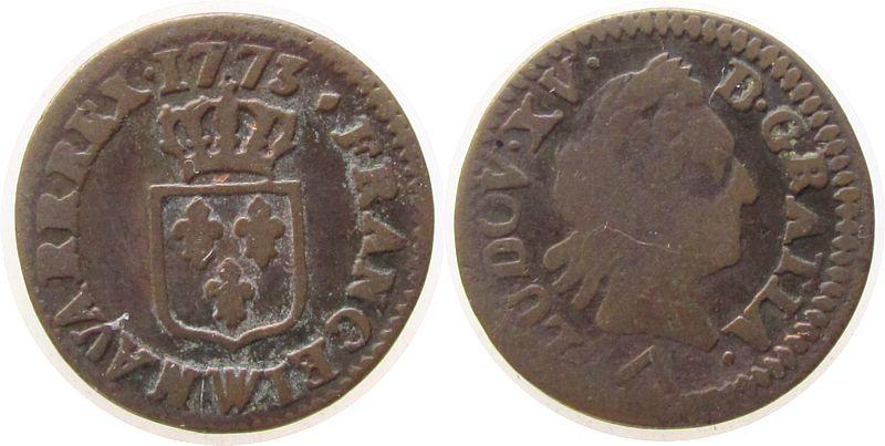 Liard á la vieille tete 1773 Frankreich Ku Louis XV, W (Lille) fast ss