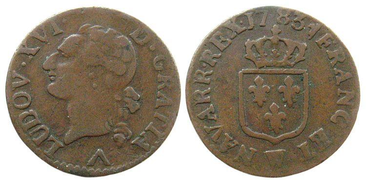 1 Liard 1783 Frankreich Ku Louis XVI, Mzz: W (Lille) ss-
