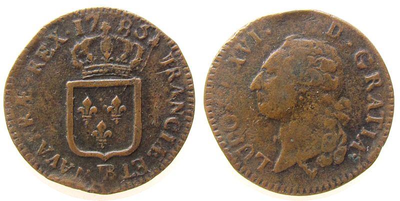 1 Sol 1783 Frankreich Ku Louis XVI, BB (Strasbourg) fast ss