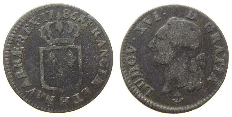 1 Sol 1786 Frankreich Ku Louis XVI, H (La Rochelle) fast ss