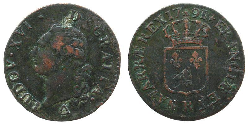 1 Sol 1791 Frankreich Ku Louis XVI, R (Orleans) 1.Emission ss