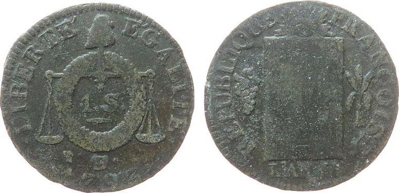 Sol aux Balances 1793 Frankreich Br Convention, D° (Dijon) schön