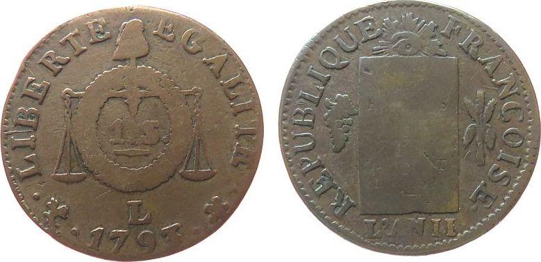 Sol aux Balances 1793 Frankreich Br Convention, L (Bayonne) schön