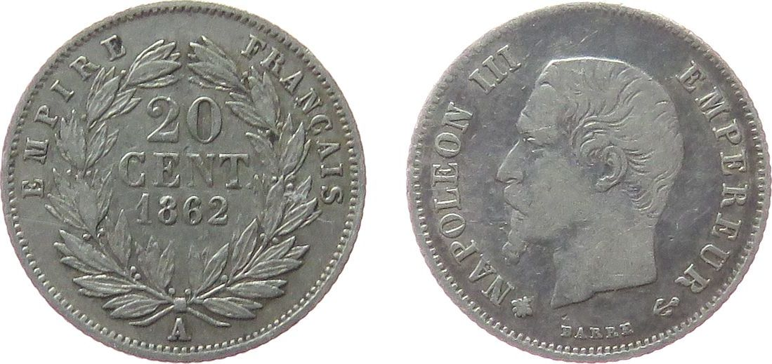 20 Centimes 1862 Frankreich Ag Napoleon III, A (Paris), selten, F.148 ss