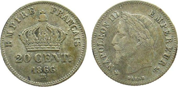 20 Centimes 1866 Frankreich Ag Napoleon III, BB (Strasbourg) s+