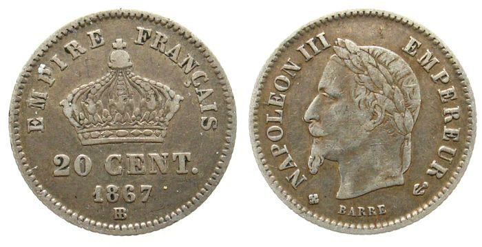 20 Centimes 1867 Frankreich Ag Napoleon III, BB (Strasburg) ss