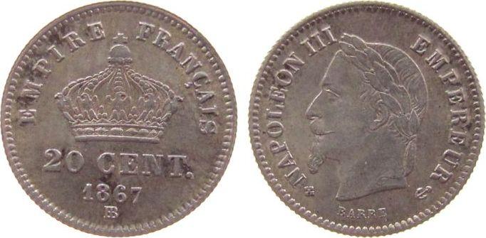 20 Centimes 1867 Frankreich Ag Napoleon III, BB (Strasbourg) vz