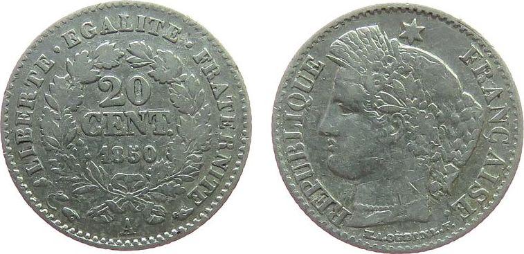 20 Centimes 1850 Frankreich Ag Ceres, A (Paris) ss