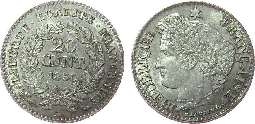 20 Centimes 1850 Frankreich Ag Ceres, A (Paris) vz+