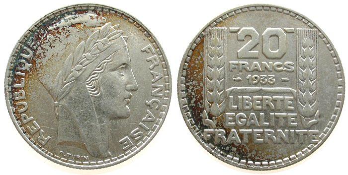 20 Francs 1933 Frankreich Ag Marianne, kurze Spitzen, rameaux courts vz