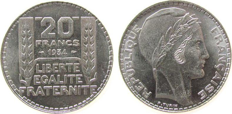 20 Francs 1934 Frankreich Ag Turin, leichte Prägeschwäche stgl-