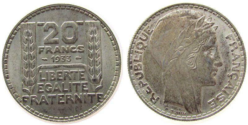 20 Francs 1933 Frankreich Ag Turin, Marianne, lange Spitzen, rameaux longs vz