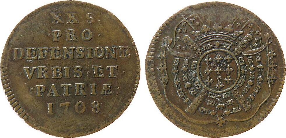 20 Sols 1708 Frankreich Ku Lille, Belagerung, Bou.2315, Prägeschwäche, Brause-Mansfeld Tf 10/1 vz