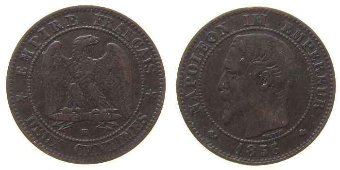 2 Centimes 1856 Frankreich Br Napoleon III, BB (Strasbourg) fast ss