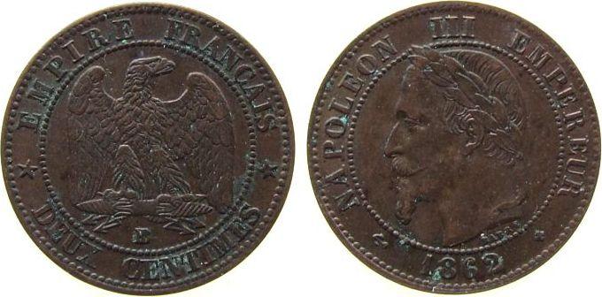 2 Centimes 1862 Frankreich Br Napoleon III, BB (Strasbourg), Gad.104 ss-vz