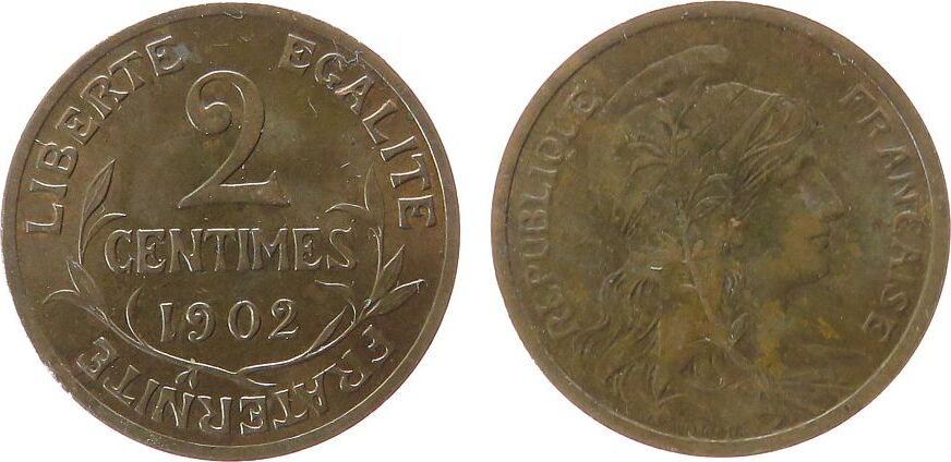 2 Centimes 1902 Frankreich Br Daniel-Dupuis, etwas fleckig vz-unc