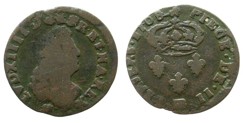 2 Deniers de Strasbourg 1708 Frankreich Ku Louis XIV, Mzz: BB (Strasbourg) sge-s