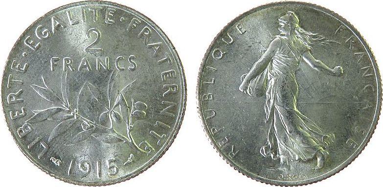2 Francs 1915 Frankreich Ag Semeuse, Gad. 532 unz