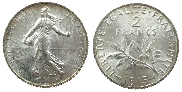 2 Francs 1915 Frankreich Ag Gad. 532, Schön 189 unz