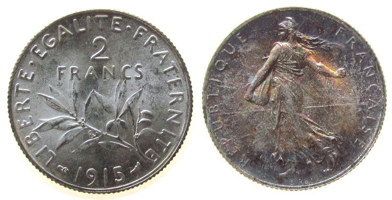 2 Francs 1915 Frankreich Ag Semeuse, Gad. 532, kleiner Randfehler, Patina unz