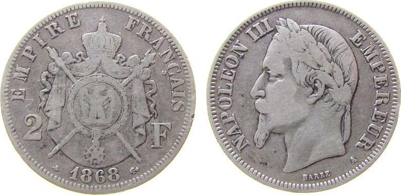 2 Francs 1868 Frankreich Ag Napoleon III, A (Paris) fast ss