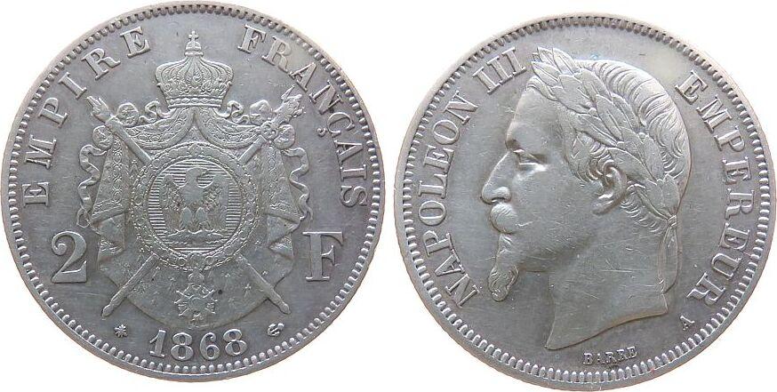 2 Francs 1868 Frankreich Ag Napoleon III, A (Paris), Randfehler ss