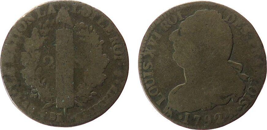 2 Sol 1792 Frankreich Br Louis XVI, A (Paris), L AN 4, Typ: Francois fast schön