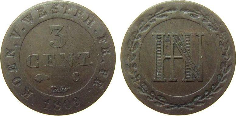 3 Centimes 1809 Frankreich Ku Napoleon Empereur, C, Westfalen, Königreich ss