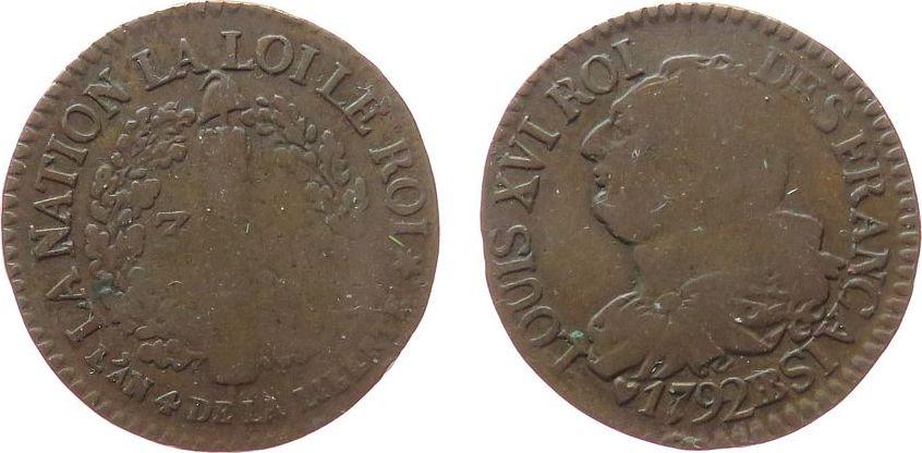 3 Deniers 1792 Frankreich Br Louis XVI, BB (Strasbourg), Typ: Francais schön